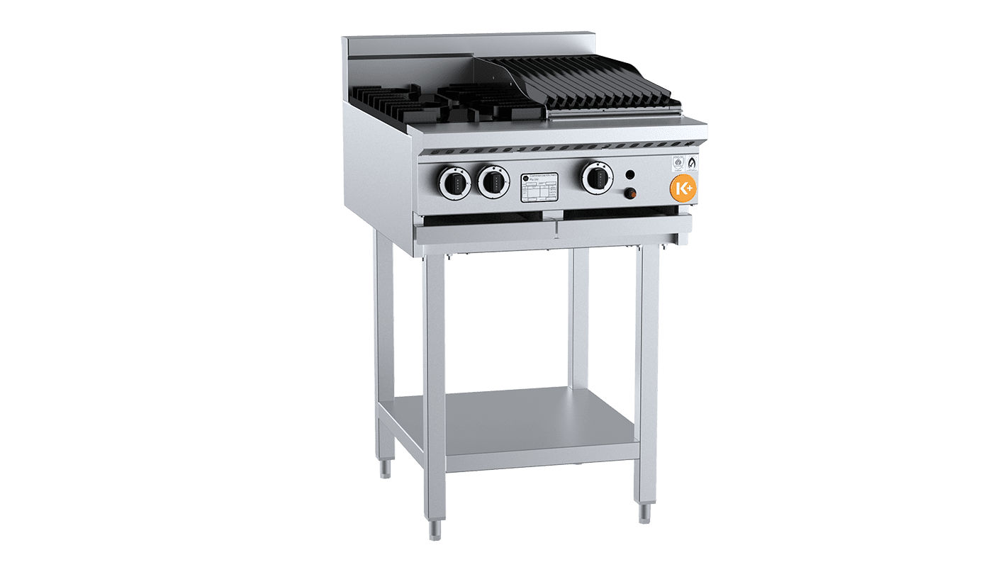 small combination top with burner and char broiler / grill