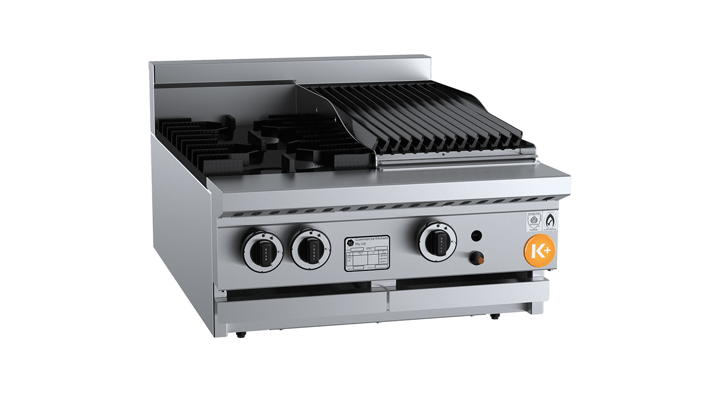 small combination top with burners and char broiler / grill