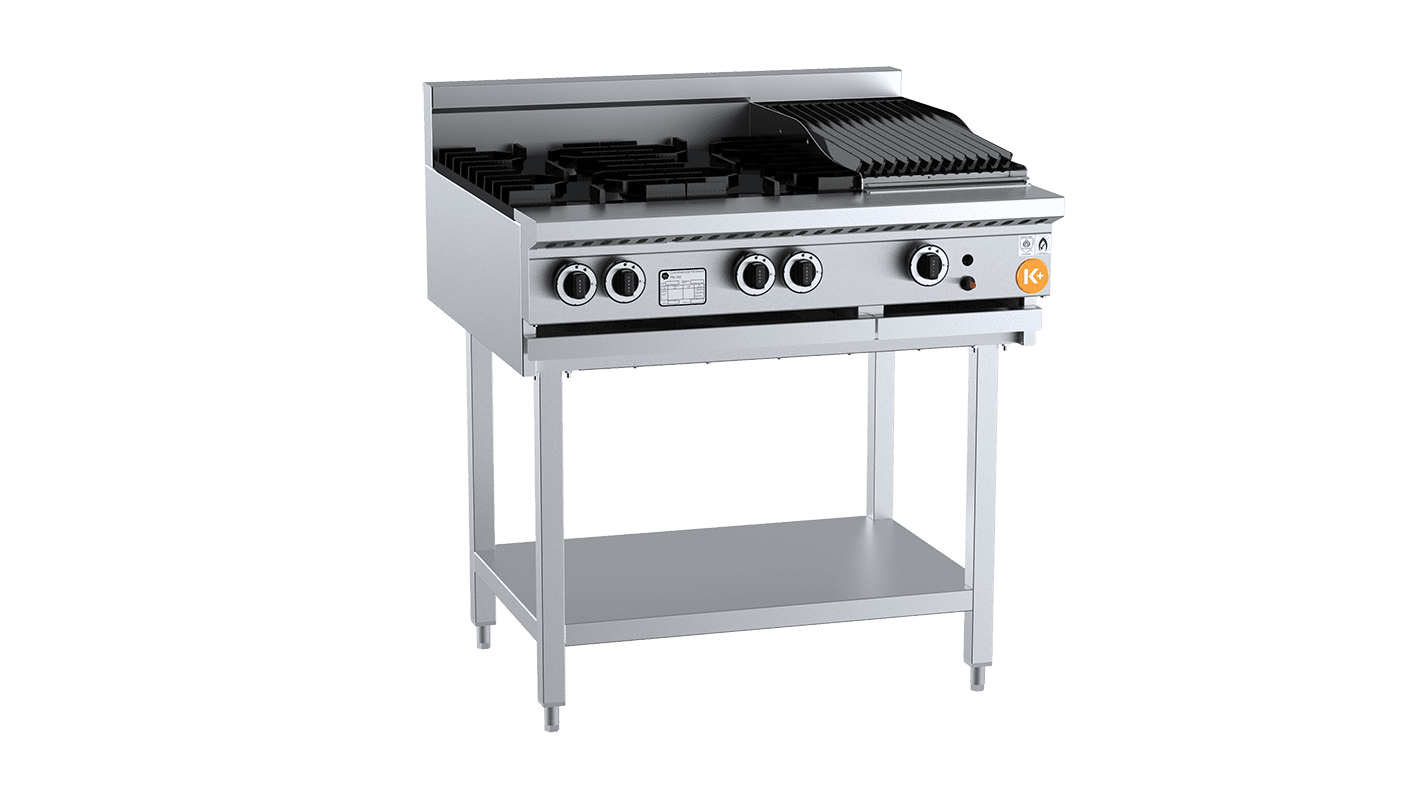 combination top burner with char broiler / grill