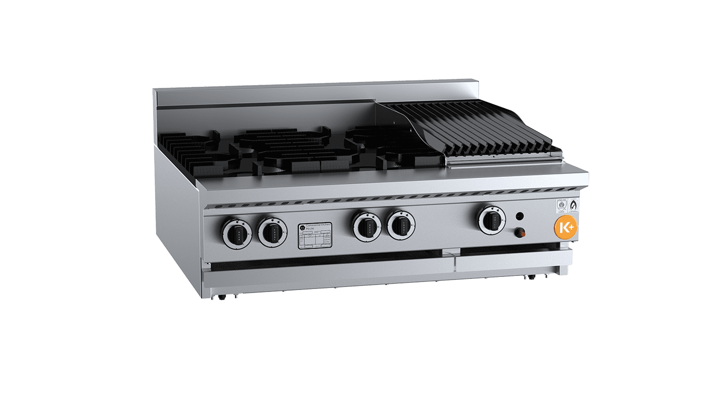 combination top with char broiler / grill