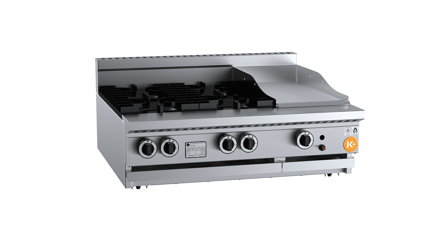 combination top with burners and grill plate